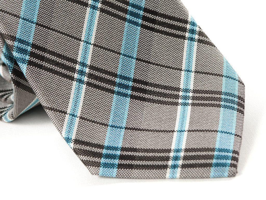 Gray & Blue Plaid Necktie - Close Up