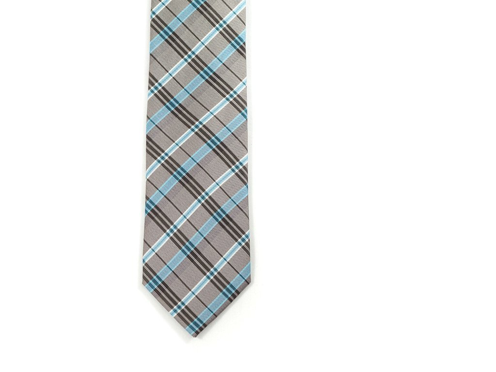 Gray & Blue Plaid Necktie - Front