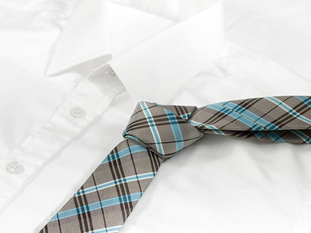 Gray & Blue Plaid Necktie - Shirt