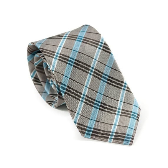 Gray & Blue Plaid Necktie - Patyrns