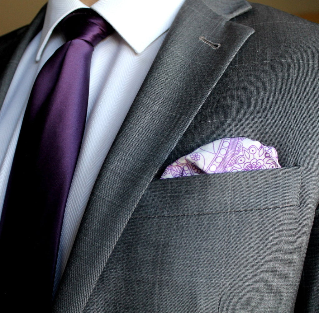Purple Paisley Pocket Square - Puff
