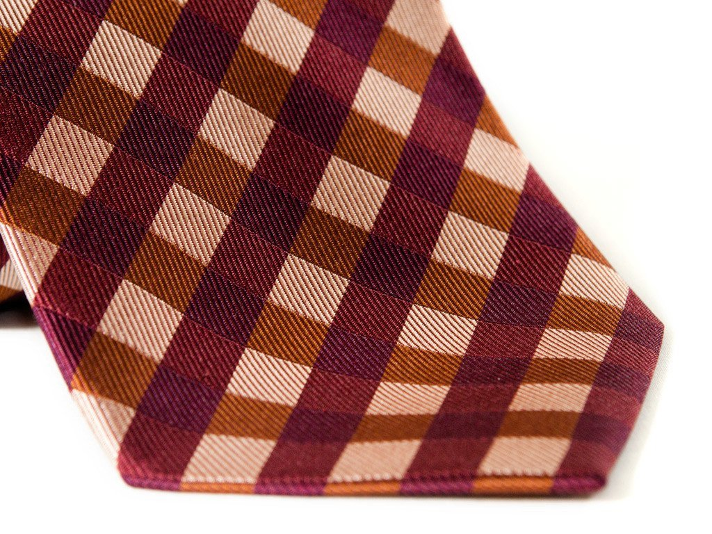 Red Plaid Necktie - Close up
