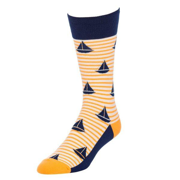 Navy & Yellow Sailboat Socks for Men