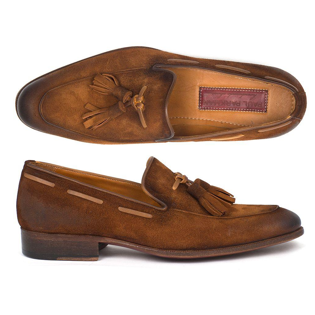 Men's Tassel Loafer Brown Antique Suede Shoes