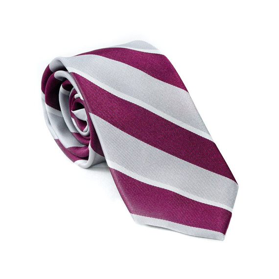Burgundy Striped Tie - Patyrns