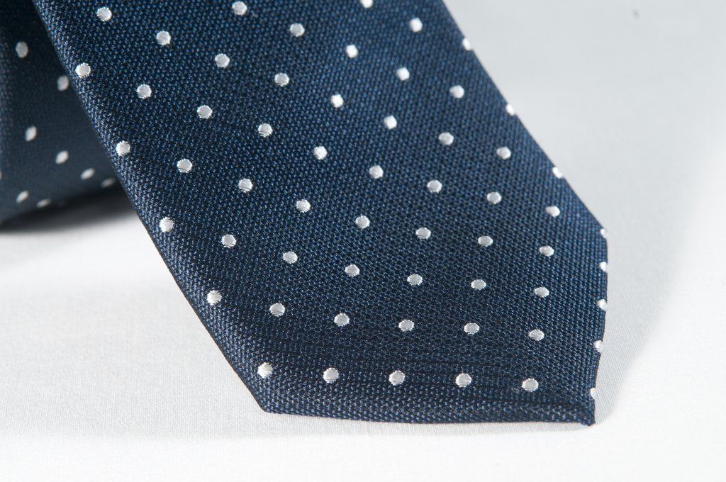 Navy Polka Dot Tie (close up)