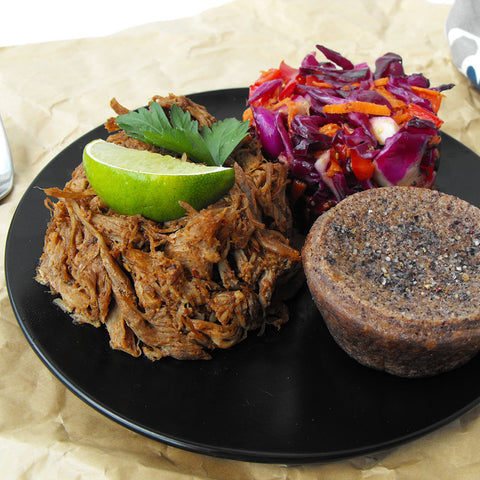 Pulled Pork with Coleslaw and Heritage Purple Cornbread
