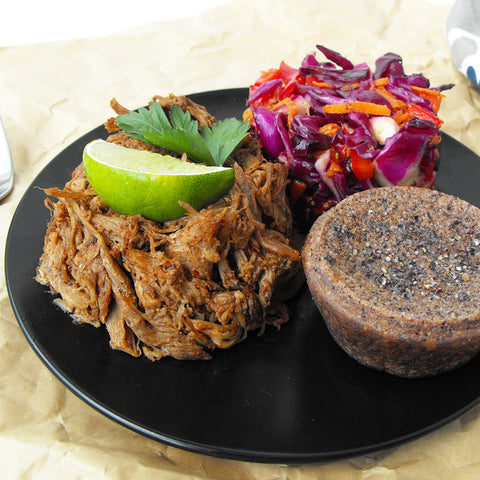 "Paleo Pulled Pork with Coleslaw and Grain-free ""Cornbread"""