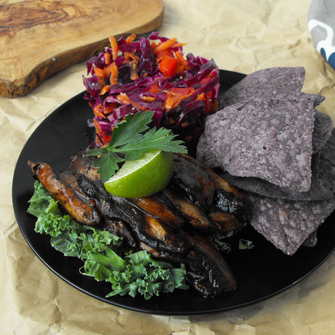 "Portobello Pulled ""Pork"" with Coleslaw and Purple Corn Tortilla Chips"