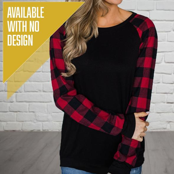 """Livn Simply"" Women's Plaid Long Sleeve T-Shirt"
