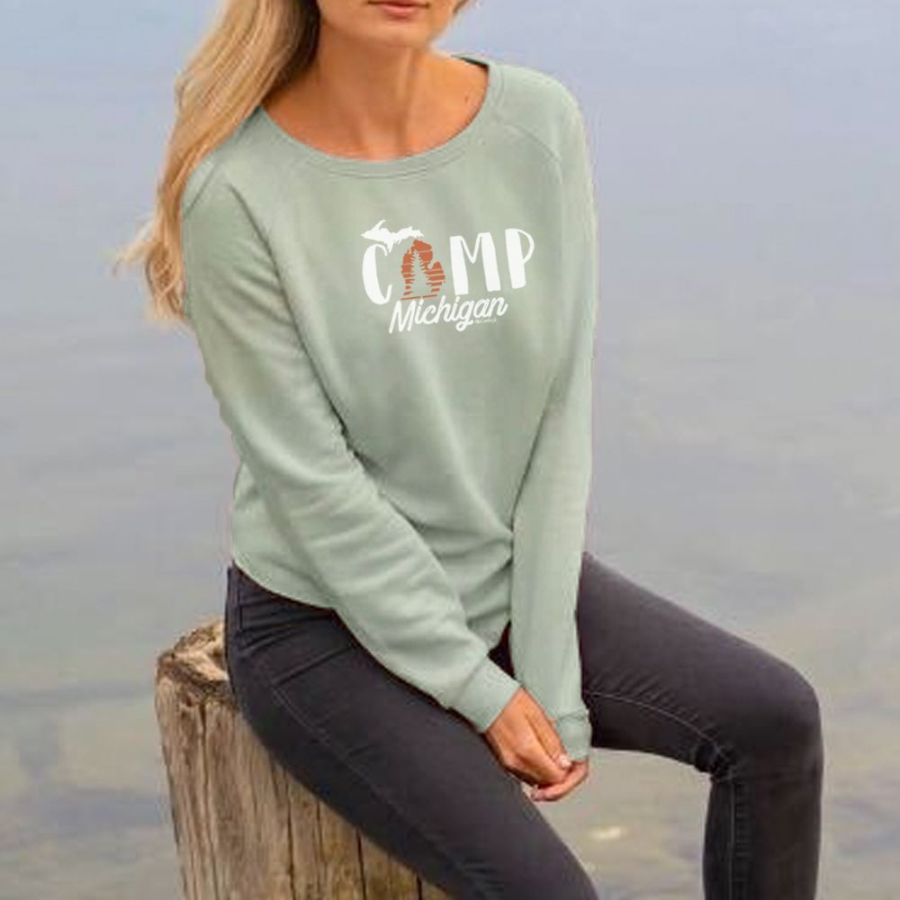 """Camp Michigan"" Women's Ultra Soft Wave Wash Crew Sweatshirt"