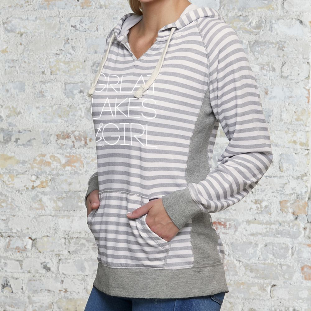 """Great Lakes Girl"" Women's Striped Chalk Terry Pullover"