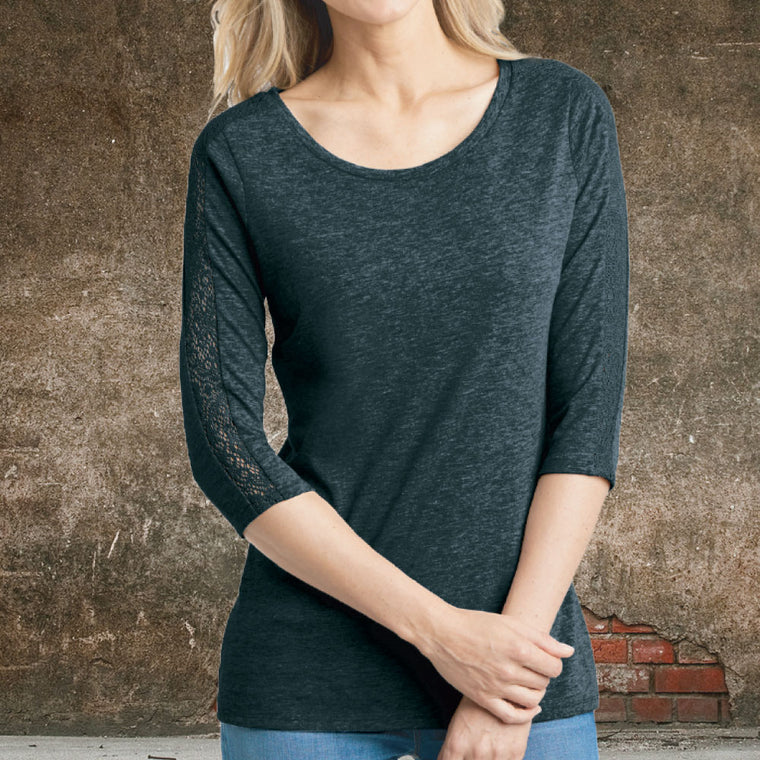 """Livn Simply"" Women's 3/4 Lace Sleeve Tee"