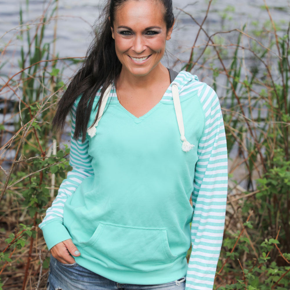 """Livn Simply"" Women's Striped Chalk Terry Pullover"