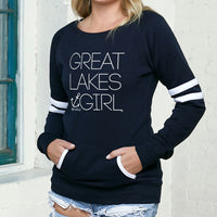 """Great Lakes Girl"" Women's Varsity Fleece Crew Sweatshirt"