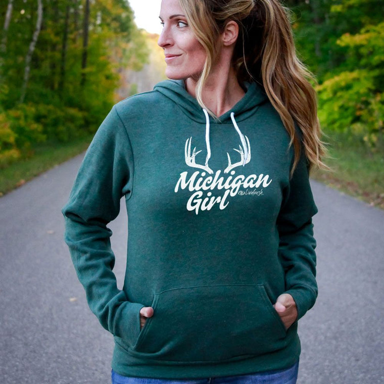 """Michigan Girl Antler"" Boyfriend Angel Fleece Hoodie"