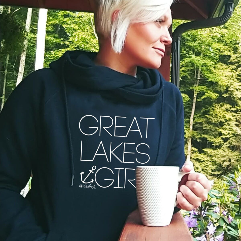 """Great Lakes Girl"" Women's Classic Funnel Neck Pullover Hoodie"