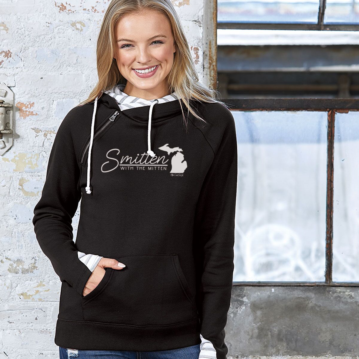 """Smitten With The Mitten"" Women's Striped Double Hood Pullover"