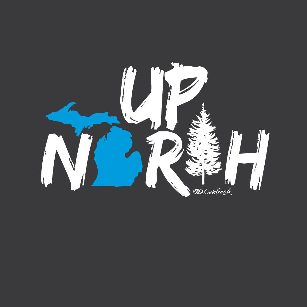 """Up North Michigan Woods"" Women's Varsity Fleece Crew Sweatshirt"