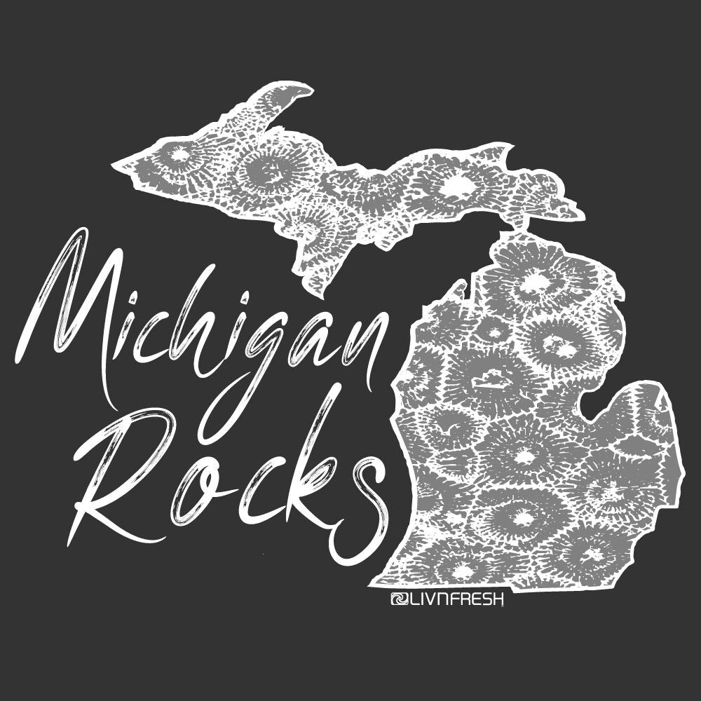 """Michigan Rocks Petoskey Stone"" Women's Raglan Jersey Crew"