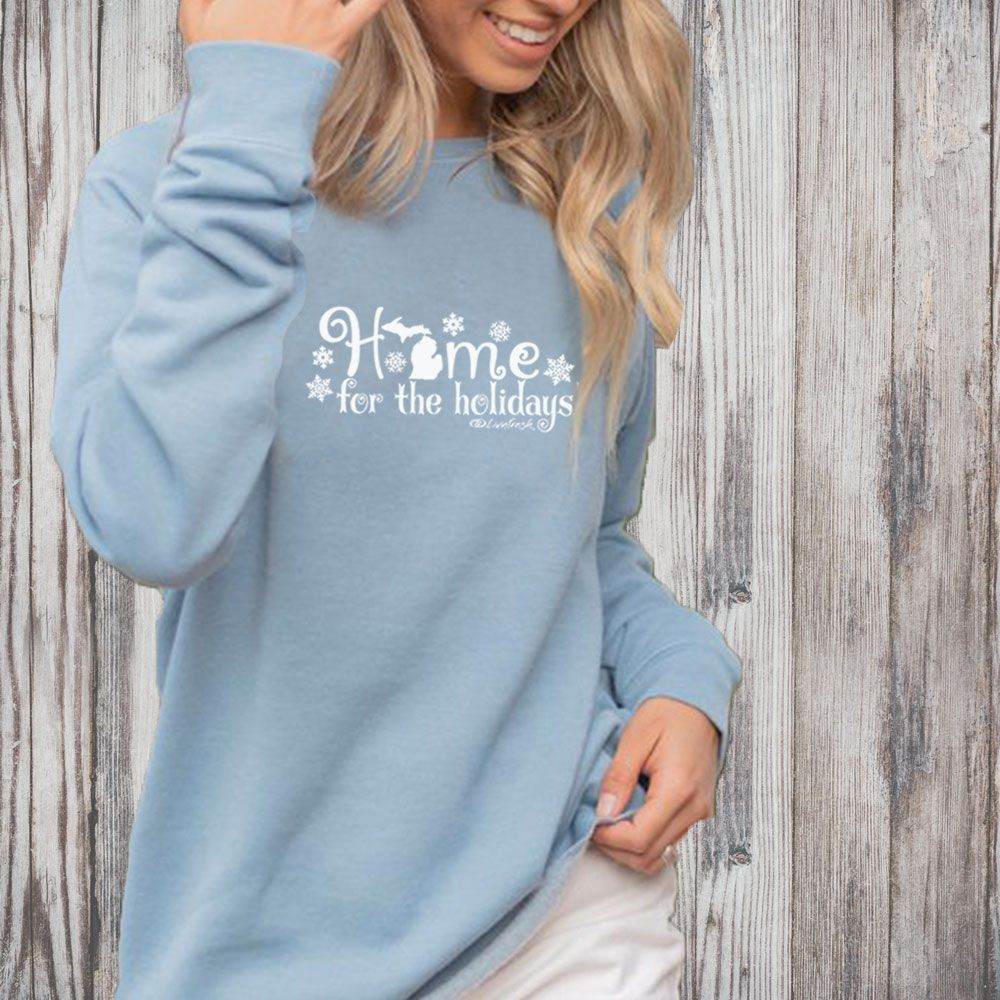 """Michigan Home For The Holidays"" Women's Ultra Soft Wave Wash Crew Sweatshirt"