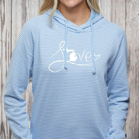"""Michigan Love #9"" Women's Striped Long Sleeve Fashion Hoodie"