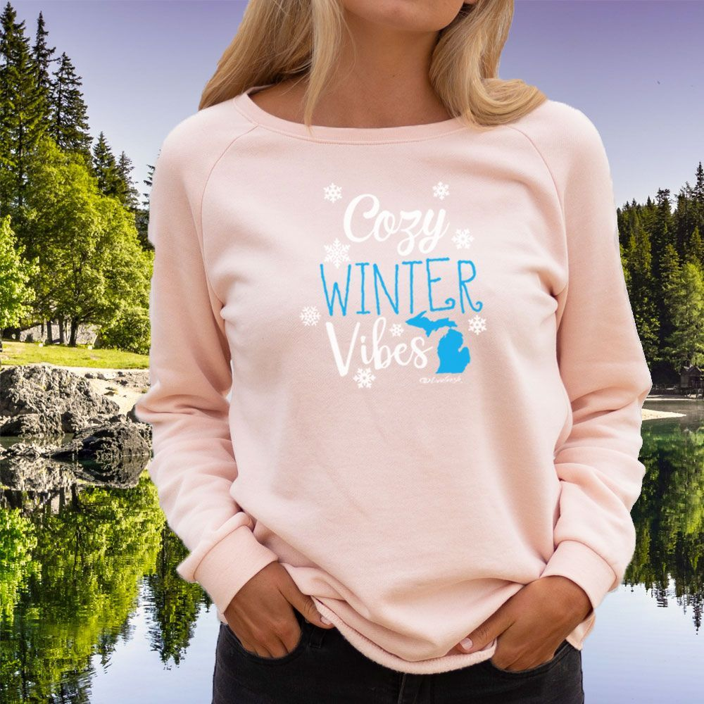 """Michigan Cozy Winter Vibes"" Women's Ultra Soft Wave Wash Crew Sweatshirt"