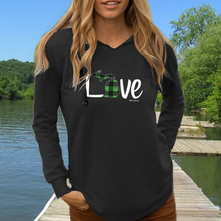 """Michigan Love Green Plaid"" Women's Ultra Soft Wave Wash Hoodie"
