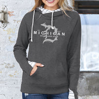 """Michigan D Established 1837"" Women's Striped Double Hood Pullover"