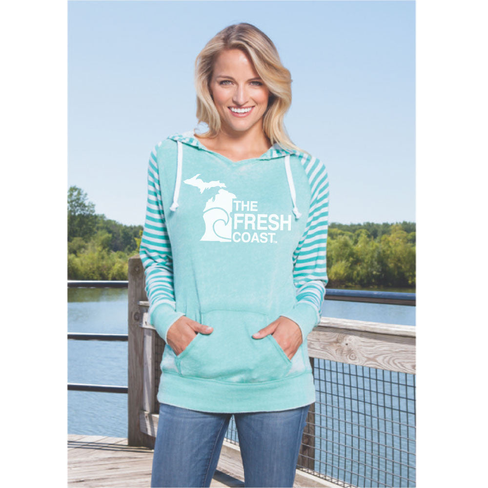 Michigan Fresh Coast Womens Striped Chalk Terry Pullover