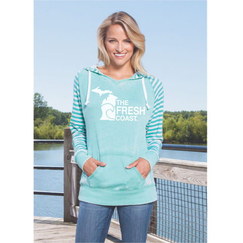 Michigan Fresh Coast Women's Striped Chalk Terry Pullover