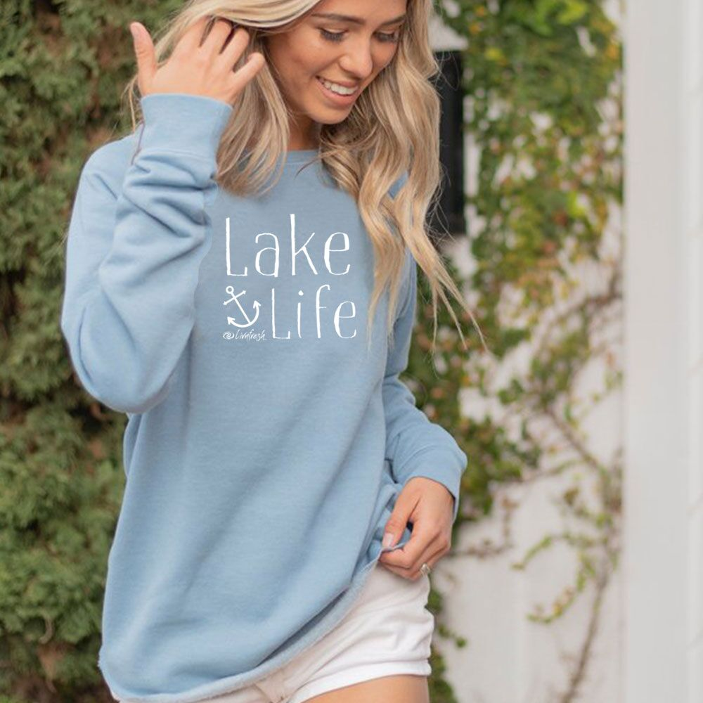 NEW Lake Life Anchor Women's Ultra Soft Wavewash Crew Sweatshirt