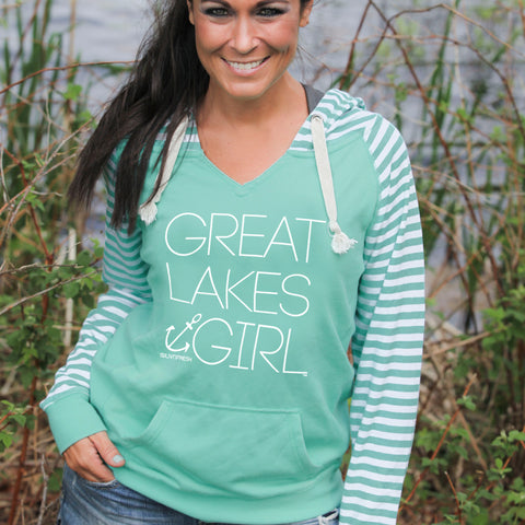 Great Lakes Girl Women's Striped Chalk Terry Pullover