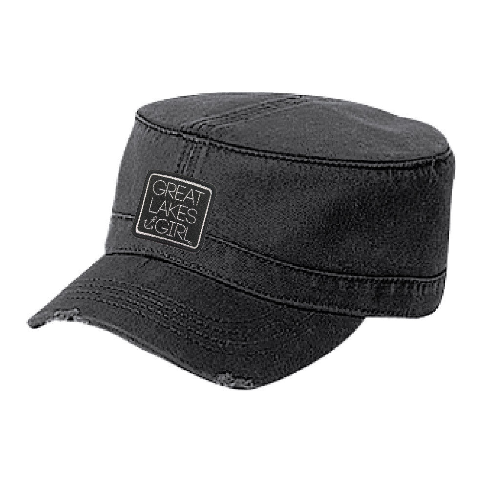 Great Lakes Girl Distressed Military Hat (Velcro Back)