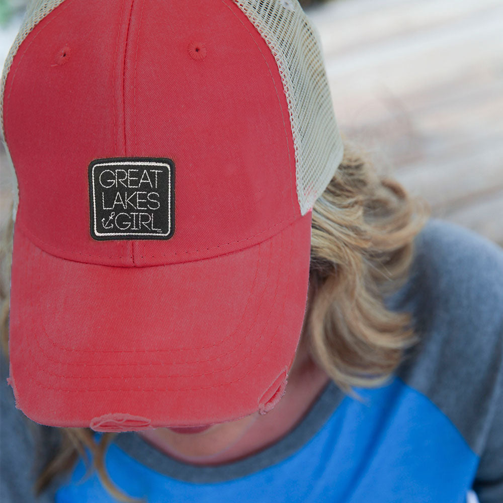 """Great Lakes Girl"" Distressed Hat"