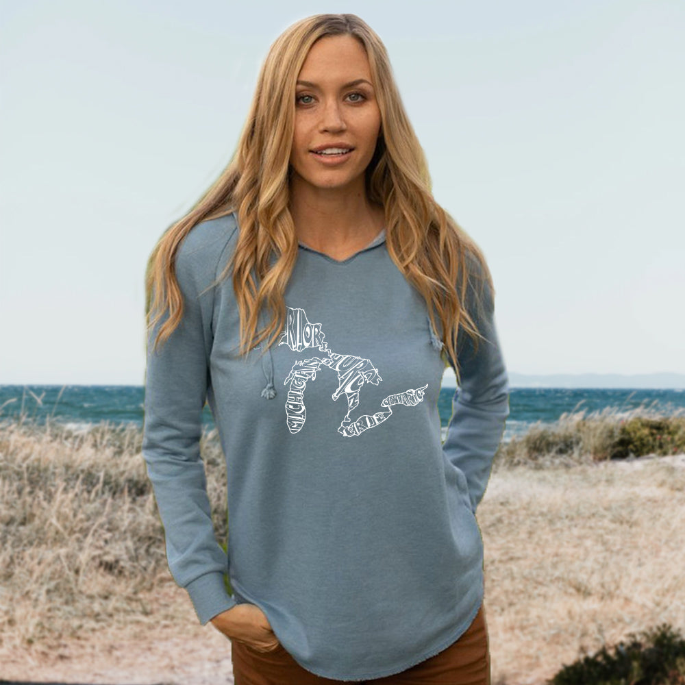 Great Lakes Words Women's Ultra Soft Wavewash Hoodie