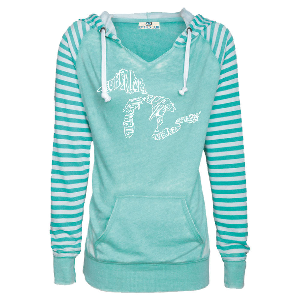 Great Lakes Words Women's Striped Chalk Terry Pullover