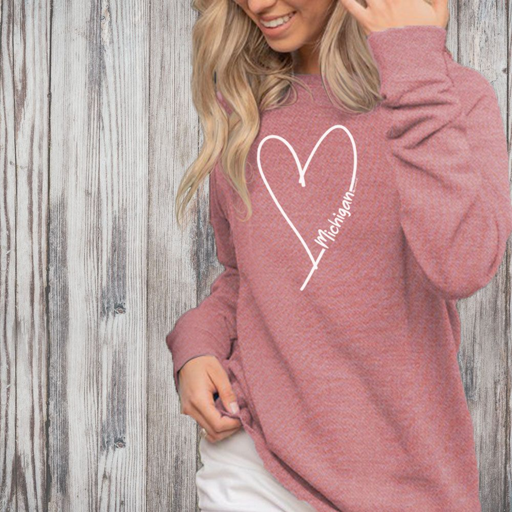 """Michigan Made With Love"" Women's Ultra Soft Wave Wash Crew Sweatshirt"
