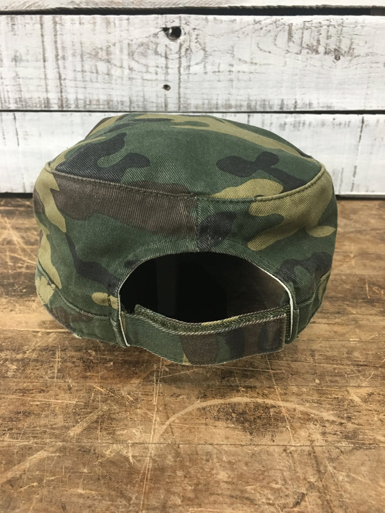 Michigan Hunt Camo Distressed Military Hat (Velcro Back)