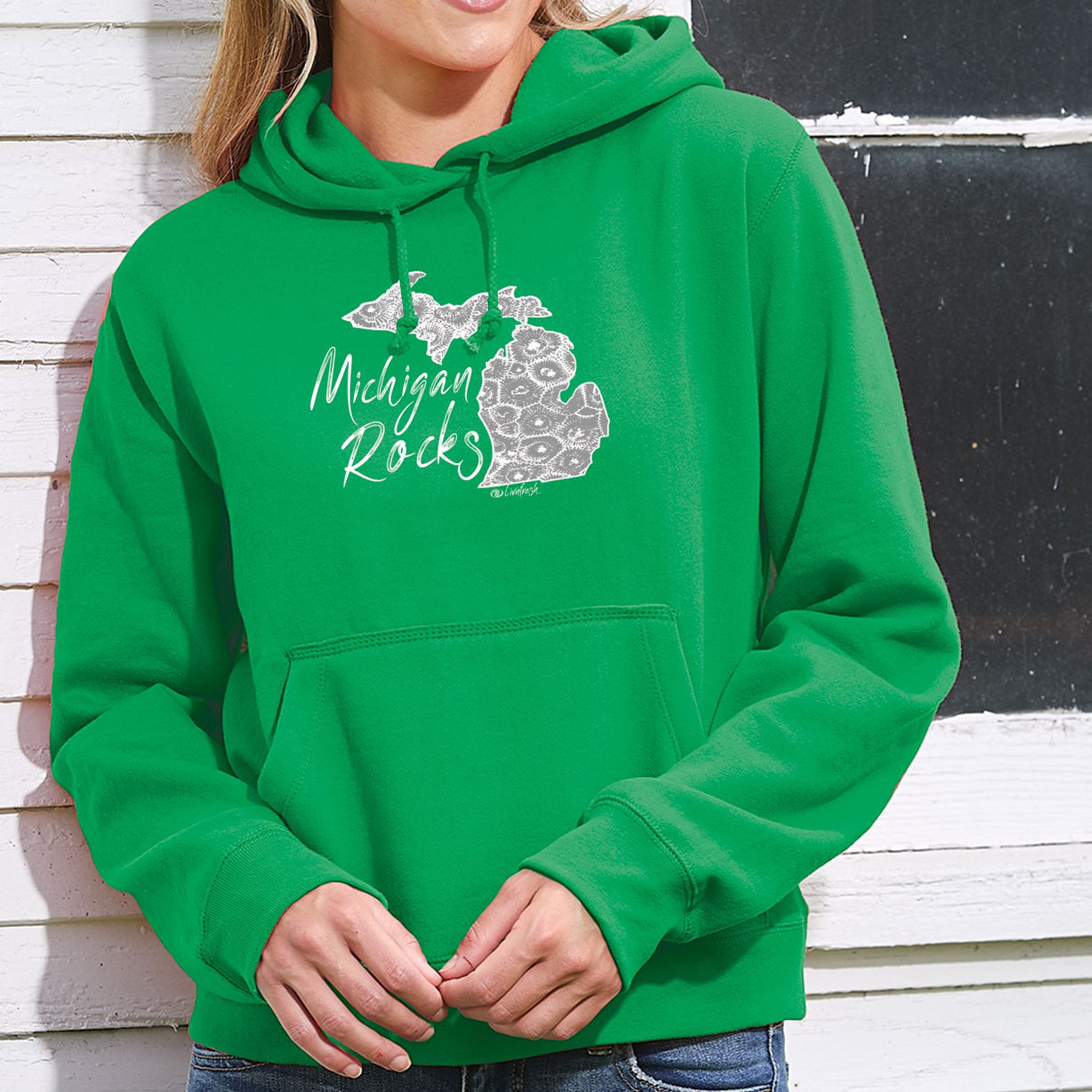 """Michigan Rocks Petoskey Stone"" Women's Classic Fleece Pullover Hoodie"