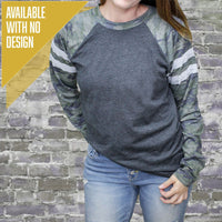 """Livn Simply"" Boyfriend Mash Up Long Sleeve Varsity T-Shirt"
