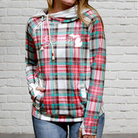 """Smitten With The Mitten"" Women's Plaid Fashion Double Hood"