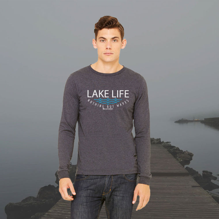 """Lake Life WAVES"" Men's Long Sleeve T-Shirt"