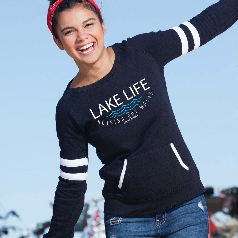 Lake Life WAVES Women's Varsity Fleece Crew Sweatshirt