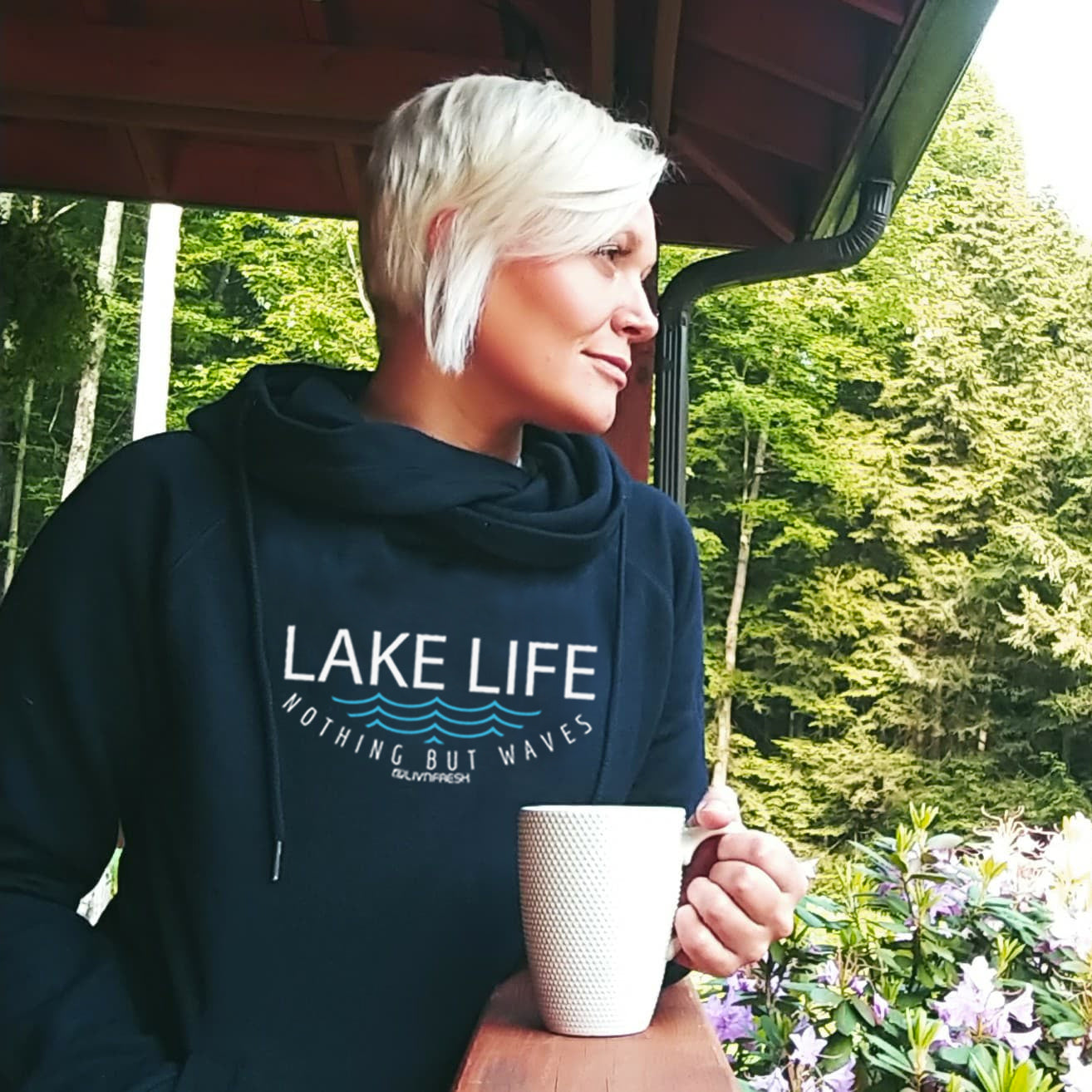 Lake Life WAVES Women's Fleece Funnel Neck Pullover Hoodie