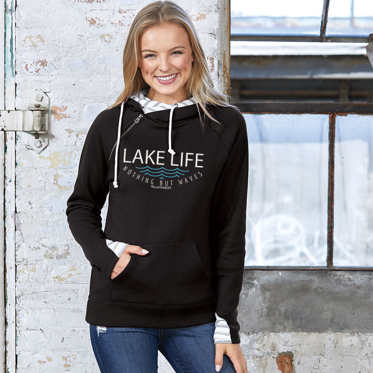 Lake Life WAVES Womens Striped Double Hood Pullover