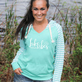 Lake Vibes Women's Striped Chalk Terry Pullover