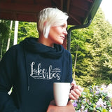 Lake Vibes Women's Fleece Funnel Neck Pullover Hoodie
