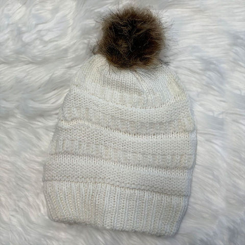 Fleeced Lined Winter Hat With Ball