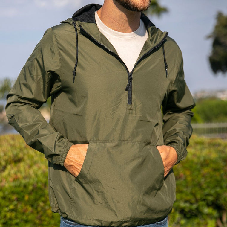 """Livn Simply"" Men's Lightweight Half-Zip Windbreaker Pullover Jacket"
